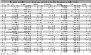 Bible Reading Schedule for the Recovery Version